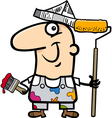painting worker cartoon vector image vector image