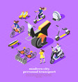 personal transport isometric composition vector image vector image