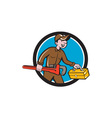 Plumber Carrying Monkey Wrench Toolbox Circle vector image vector image