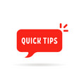 red speech bubble like quick tips vector image vector image