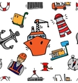Sea port colorful icons pattern vector image