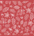 seamless doodle leaves background red white vector image