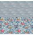 seamless pattern with different fishes on striped vector image
