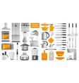 set different kitchen tools vector image