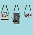 set hanging old camera vector image