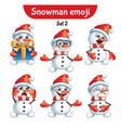 set of cute snowman characters set 2 vector image vector image