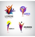 set of man logos team family icon Winner vector image vector image