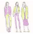 Set with color scetch of trendy girls vector image vector image