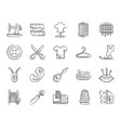 sewing charcoal draw line icons set vector image