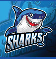 shark logo angry smile blue mascot vector image