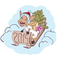 Sheep on a sledge with gifts Symbol 2015 vector image