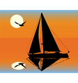 silhouette of a yacht on the background of the set vector image