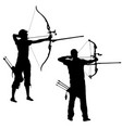 silhouette set attractive male and female archer vector image vector image
