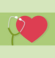 stethoscope and heart icon or sign pulse care vector image vector image