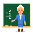 teacher elderly female teacher stand on lesson at vector image
