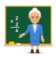 teacher elderly female teacher stand on lesson at vector image vector image