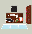 top view home office interior with window vector image vector image
