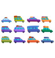 travel on car icons set cartoon style vector image vector image