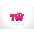 tw t w letter logo with pink purple color and vector image vector image