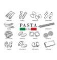 types italian pasta or macaron vector image