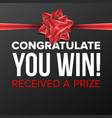 you win poster festive sign prize concept vector image vector image