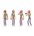 young red-haired man standing vector image