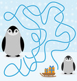 Funny penguins labyrinth game winter card for vector image