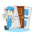 installation of doors master vector image