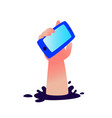 a hand with a smartphone sticking out a hole vector image