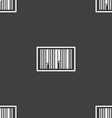 Barcode Icon sign Seamless pattern on a gray vector image vector image