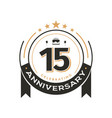 birtday vintage logo template to 15 th anniversary vector image vector image
