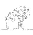 businessman watering money tree - one line design vector image vector image