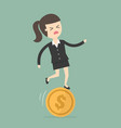 businesswoman stand on unbalances coin