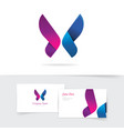 butterfly logo template with purple wings vector image vector image
