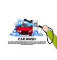 carwash service icon with cleaning vehicle on car vector image