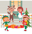 Children on the doorstep in Christmas Costumes vector image