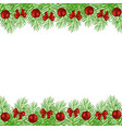 christmas tree branches decorated vector image vector image