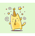 color happy character cat with hat and bl vector image vector image