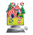 Computer screen with clowns at the circus vector image vector image