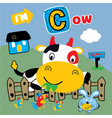 cow and best friends funny animal cartoon vector image vector image