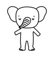 cute elephant animal wildlife cartoon line style vector image