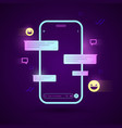 cyber smartphone with chat app vector image vector image
