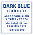 dark blue colored metal chrome alphabet font vector image