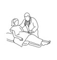 doctor pulling female patient to sit on the bed vector image