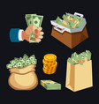dollar paper business finance money stack in bag vector image
