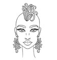 doodle girl with shaved head and earrings womens vector image vector image