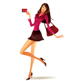fashion model shows plastic card vector image vector image
