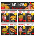 fast food restaurant menu board template design vector image vector image