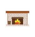 fireplace of home interior item isolated icon vector image vector image