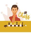 flat cartoon funny chessplayer play chess vector image